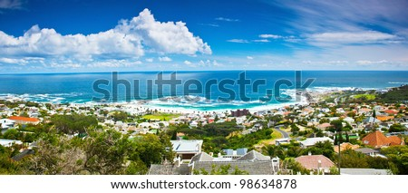Cape Town city panoramic image, beautiful cityscape  and beach on Atlantic ocean coast, South Africa travel - stock photo