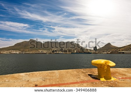 Cape Town Harbor with Table Mountain in the Background - stock photo