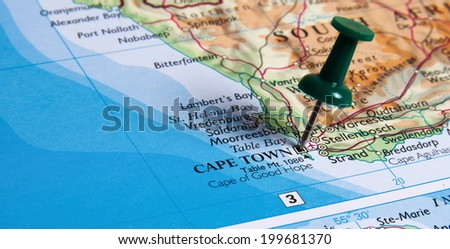 Cape Town in the map with pin - stock photo