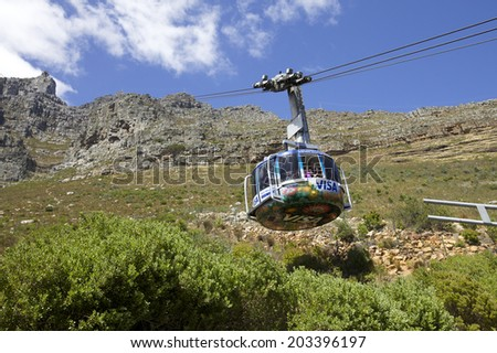 CAPE TOWN - JANUARY 08 : Table mountain view with cable car in Cape Town. South Africa on the 08 January 2013  in Cape Town, South Africa.