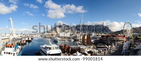 Cape Town panorama waterfront and habour with famous Table mountain in South Africa - stock photo