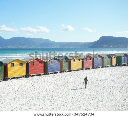 Cape Town region, Muizenberg colourful beach bathhouses - stock photo