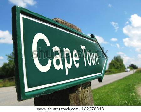 Cape Town signpost along a rural road - stock photo