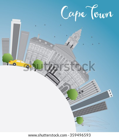 Cape town skyline with grey buildings, blue sky and copy space. Business travel and tourism concept with place for text. Image for presentation, banner, placard and web site.