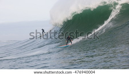 CAPE TOWN, SOUTH AFRICA - 7 August 2016 Big wave surfers taking on a giant swell at Sunset Reef looking to be crowned champions of the Striped Horse Challenge big wave surfing competition