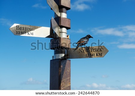 CAPE TOWN/SOUTH AFRICA - NOVEMBER 15 2014: Signpost distance to world cities from the southernmost point of the African continent - stock photo