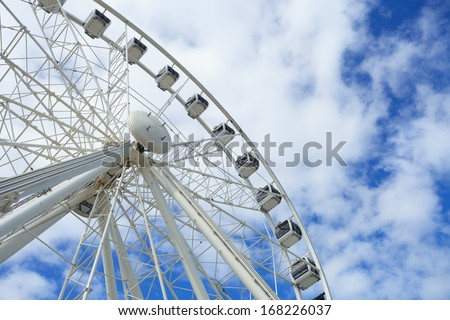 CAPE TOWN,SOUTH AFRICA-OCTOBER, 13:Cape Wheel of Excellence Beautiful Large White Ferris Wheel and the Blue Sky on October 13, 2013 in Cape Town, South Africa.