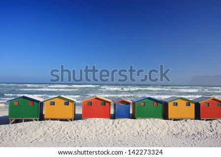 cape town typical beach cabins famous South African landscape - stock photo