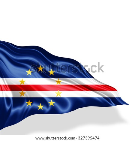 Cape Verde flag of silk with copyspace for your text or images and white background