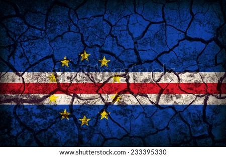 Cape Verde flag pattern on the crack soil texture ,retro vintage style - stock photo