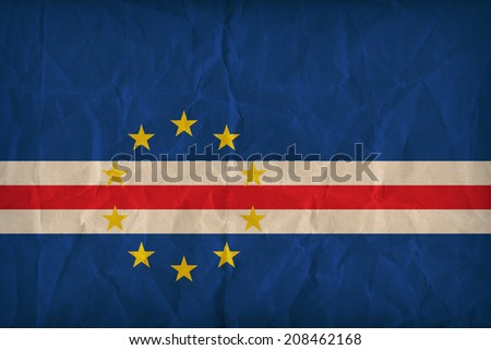 Cape Verde flag pattern on the paper texture ,retro vintage style