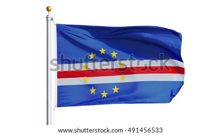 Cape Verde flag waving on white background, close up, isolated with clipping path mask alpha channel transparency
