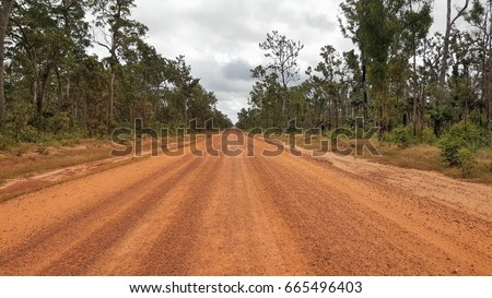 Cape York Australia, orange dirty and dusty road