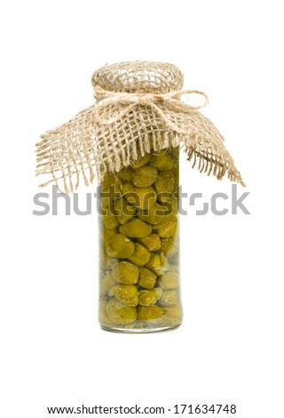 capers in a glass jar isolated on white - stock photo
