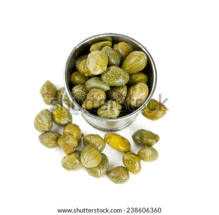 capers isolated on white - stock photo