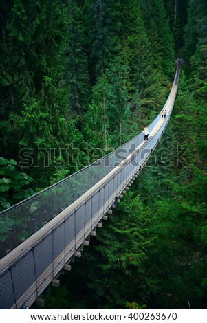 Capilano Suspension Bridge in Vancouver, Canada. - stock photo