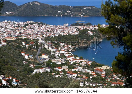 Capital city and port of Skiathos island in Greece - stock photo