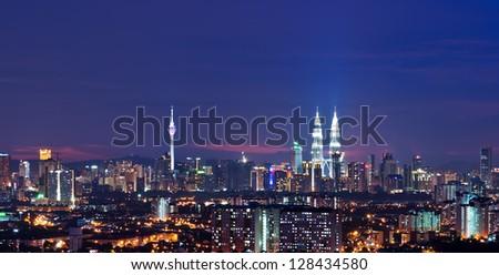 Capital city of Malaysia, Kuala Lumpur at night - stock photo