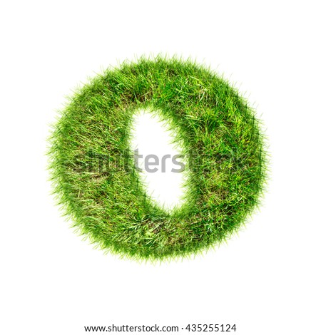 Capital latin letter made of green grass