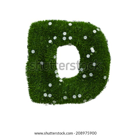 capital letter D spring or summer meadow  - stock photo