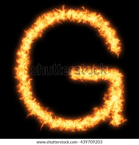 Capital letter G with fire on black background- Helvetica font based