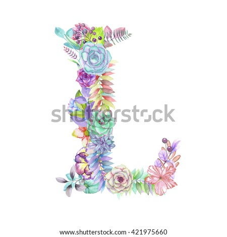Capital Letter L Watercolor Flowers Isolated Stock Illustration