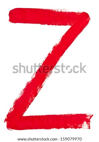 capital letter z hand painted by red brush on white background