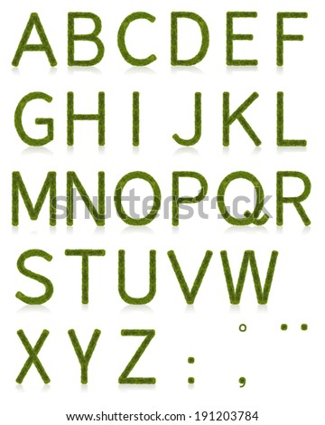 Capital letters made of grass with reflection