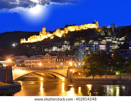 Capital of Georgia, Tbilisi. Old town at night. Caucasus. - stock photo