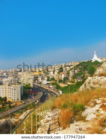 Capital of Lebanon - Beirut from height - stock photo