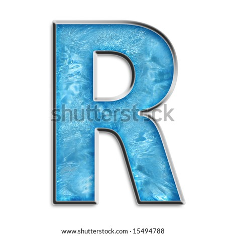 Capital R in shimmery blue isolated on white