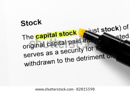 Capital stock text highlighted in yellow, under the Stock heading
