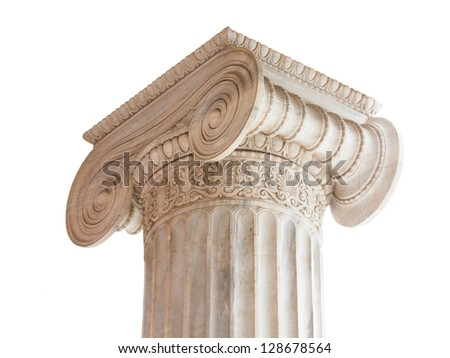 Capital (volute and abacus) of a nineteenth century neoclassical ionic column in Athens, Greece. - stock photo