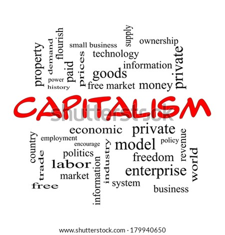 Capitalism Word Cloud Concept in red caps with great terms such as economic, private, free and more.