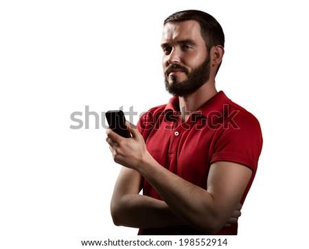 Capitan see in phone in white bg - stock photo