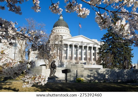 Capitol Building and cherry blossoms in Salt Lake City, Utah, United States - stock photo
