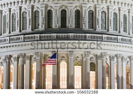 Capitol Building Dome, detail, at nigth,  Washington DC - stock photo