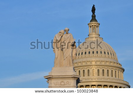 Capitol Building dome detail - Washington DC - stock photo