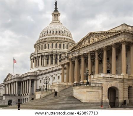 Capitol building eastern facade,staircase,Washington DC - stock photo