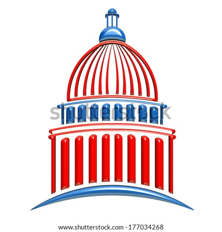 Capitol building icon red and blue - stock photo