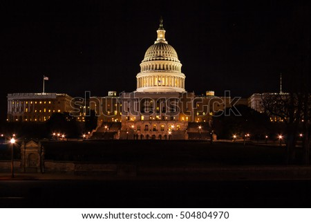 Capitol Building illuminated by night lights, Washington DC, USA