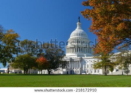 Capitol Building in Autumn - Washington D.C. United States of America  - stock photo