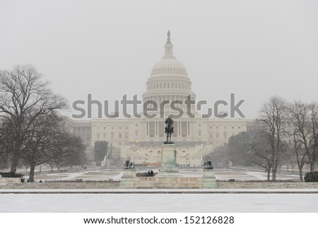 Capitol Building in winter - Washington DC, United States - stock photo