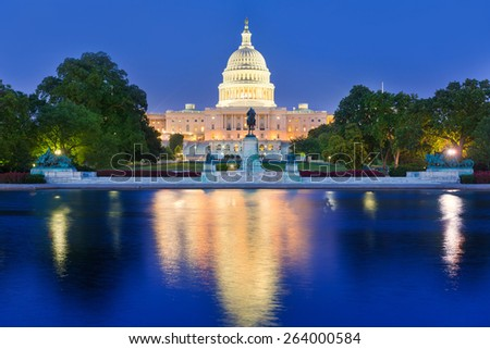 Capitol building sunset congress of USA Washington DC US - stock photo