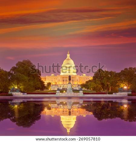 Capitol building sunset congress of USA Washington DC US - stock photo
