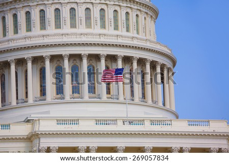 Capitol building Washington DC american flag USA congress US - stock photo