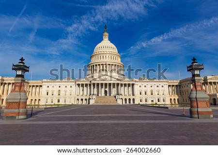 Capitol building Washington DC eastern facade USA US congress - stock photo