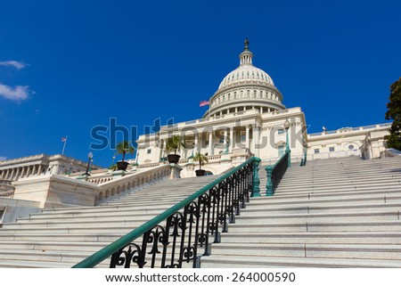 Capitol building Washington DC sunlight USA congress stairway US - stock photo