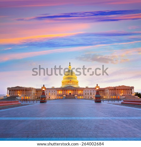 Capitol building Washington DC sunset at US congress USA - stock photo
