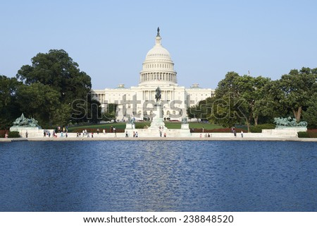 Capitol Building Washington DC USA scenic view with reflecting pond from the Mall - stock photo